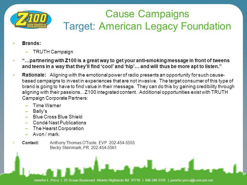 Cause Campaigns Target: American Legacy Foundation