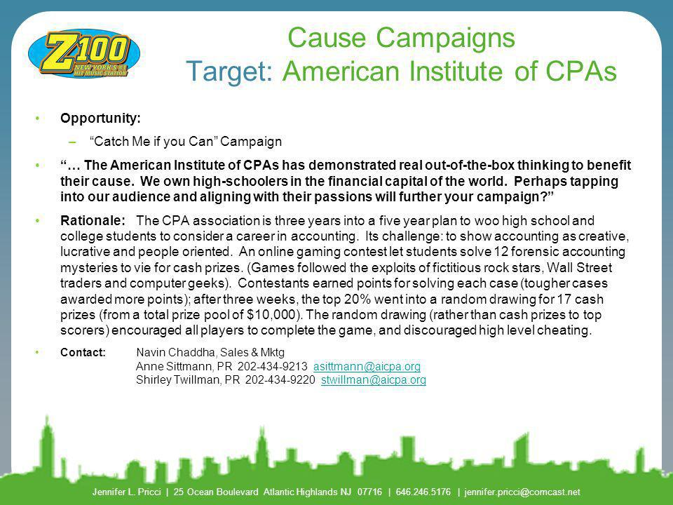 Cause Campaigns Target: American Institute of CPAs