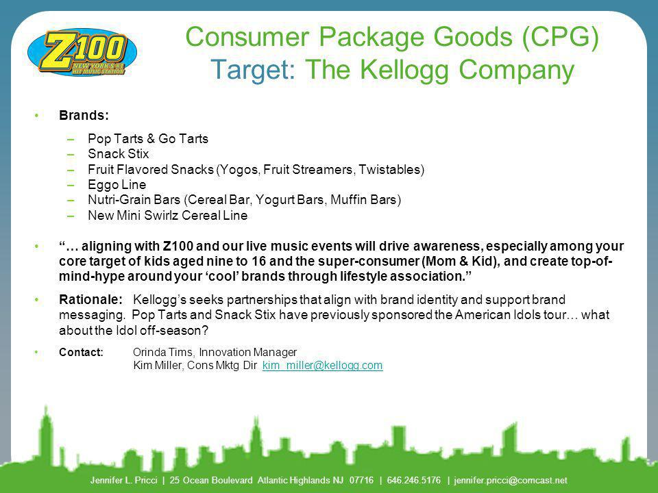 Consumer Package Goods (CPG) Target: The Kellogg Company