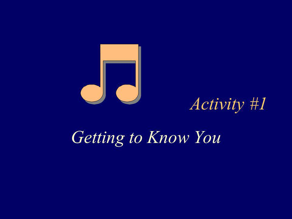 Activity #1 Getting to Know You