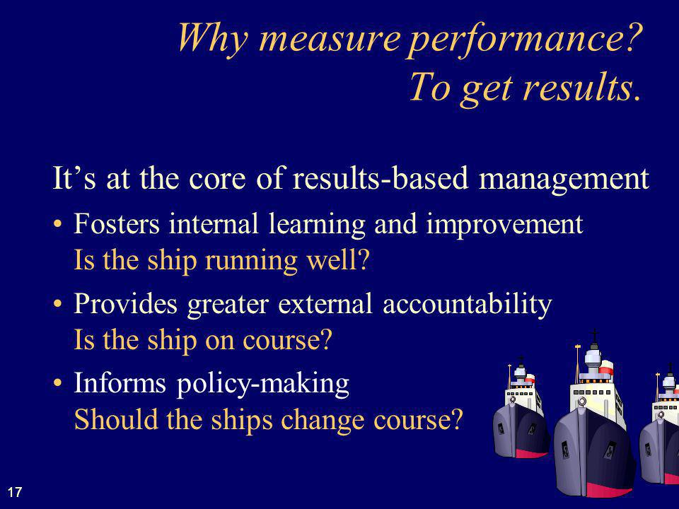 Why measure performance To get results.