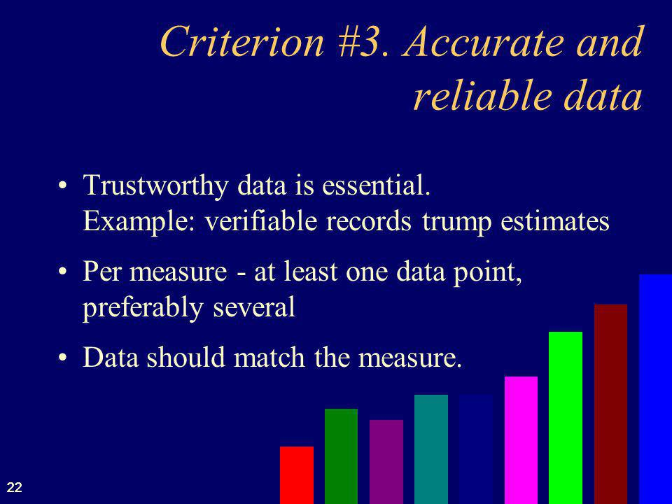 Criterion #3. Accurate and reliable data