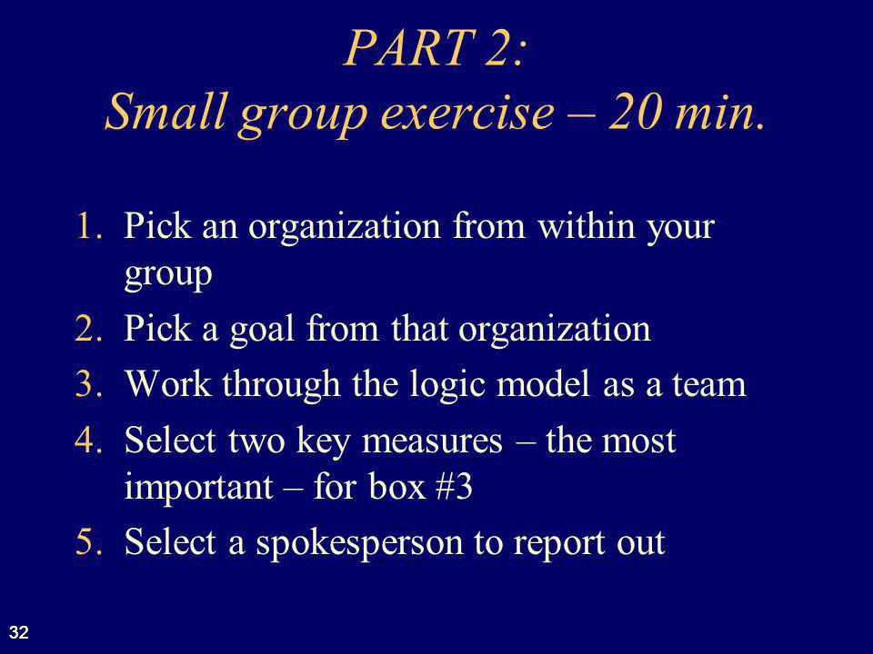 PART 2: Small group exercise – 20 min.