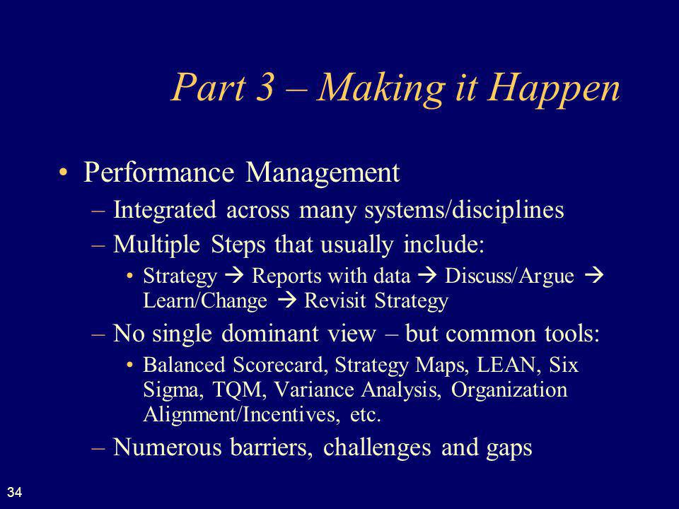 Part 3 – Making it Happen Performance Management