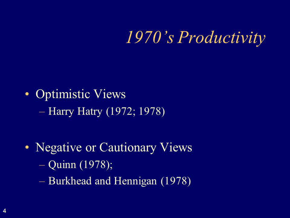 1970's Productivity Optimistic Views Negative or Cautionary Views