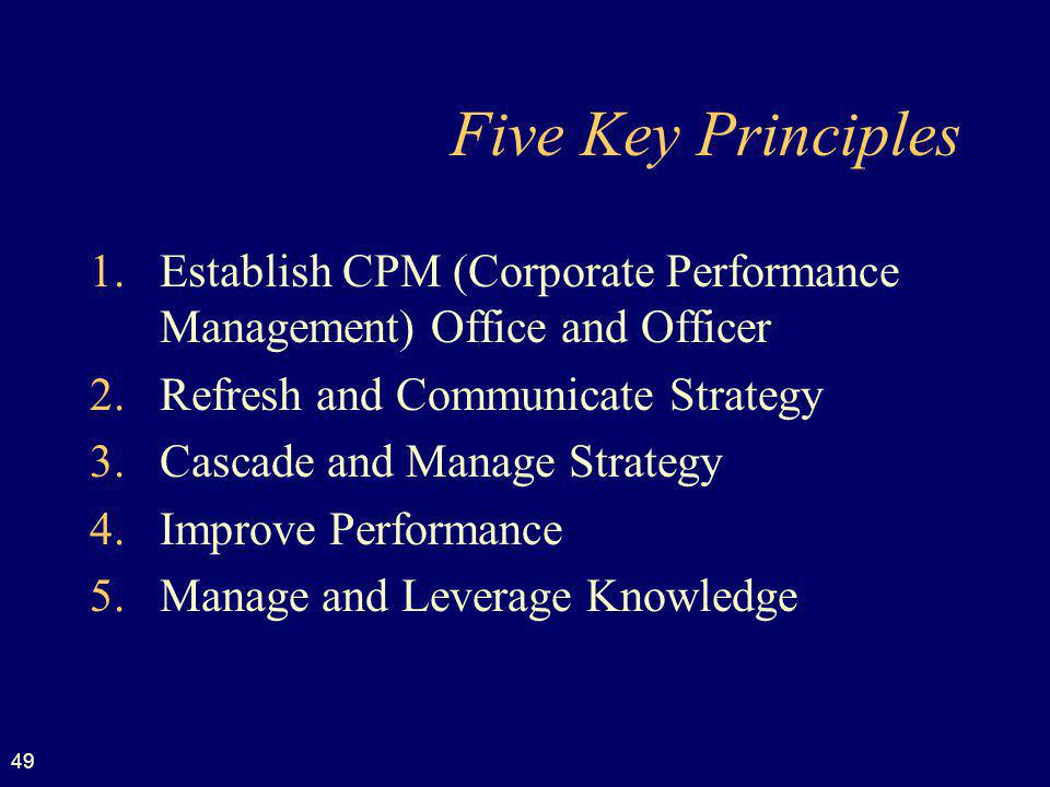 Five Key Principles Establish CPM (Corporate Performance Management) Office and Officer. Refresh and Communicate Strategy.