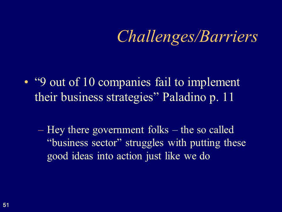 Challenges/Barriers 9 out of 10 companies fail to implement their business strategies Paladino p. 11.