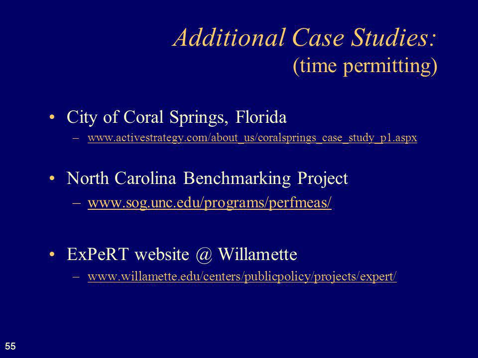 Additional Case Studies: (time permitting)