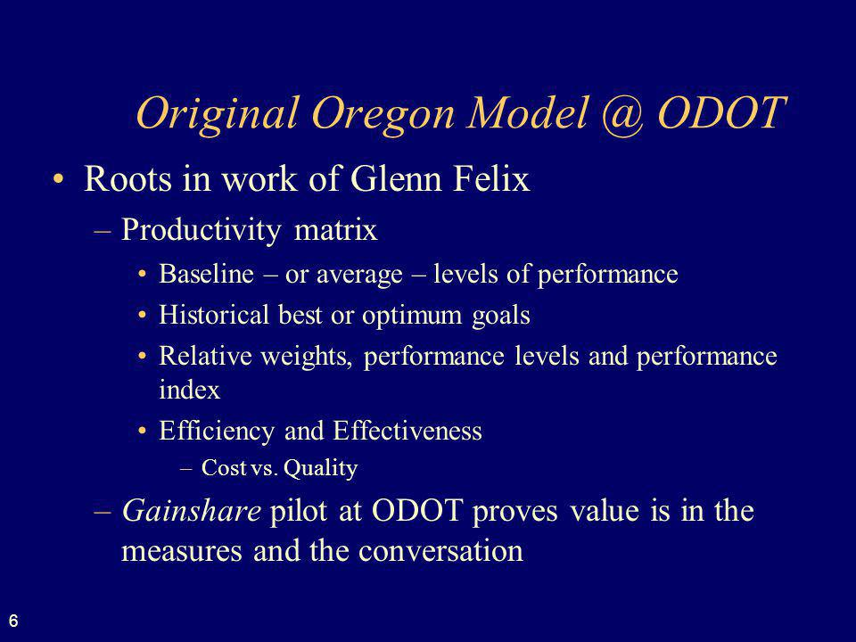 Original Oregon Model @ ODOT