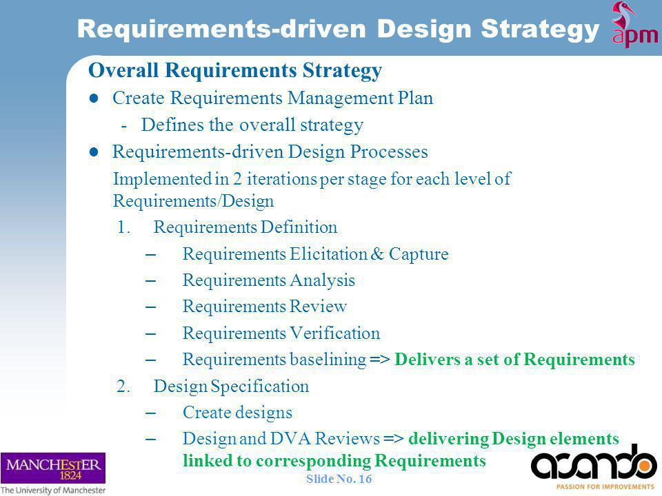 Requirements-driven Design Strategy