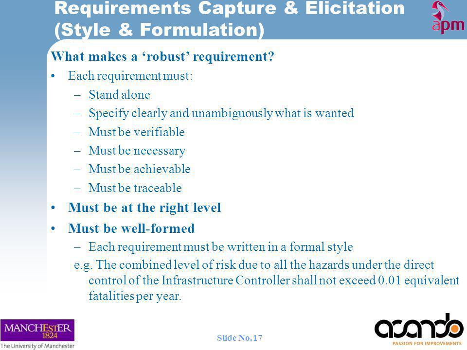 Requirements Capture & Elicitation (Style & Formulation)