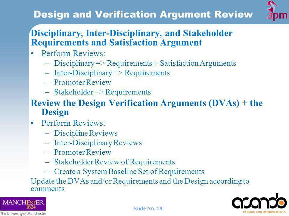 Design and Verification Argument Review