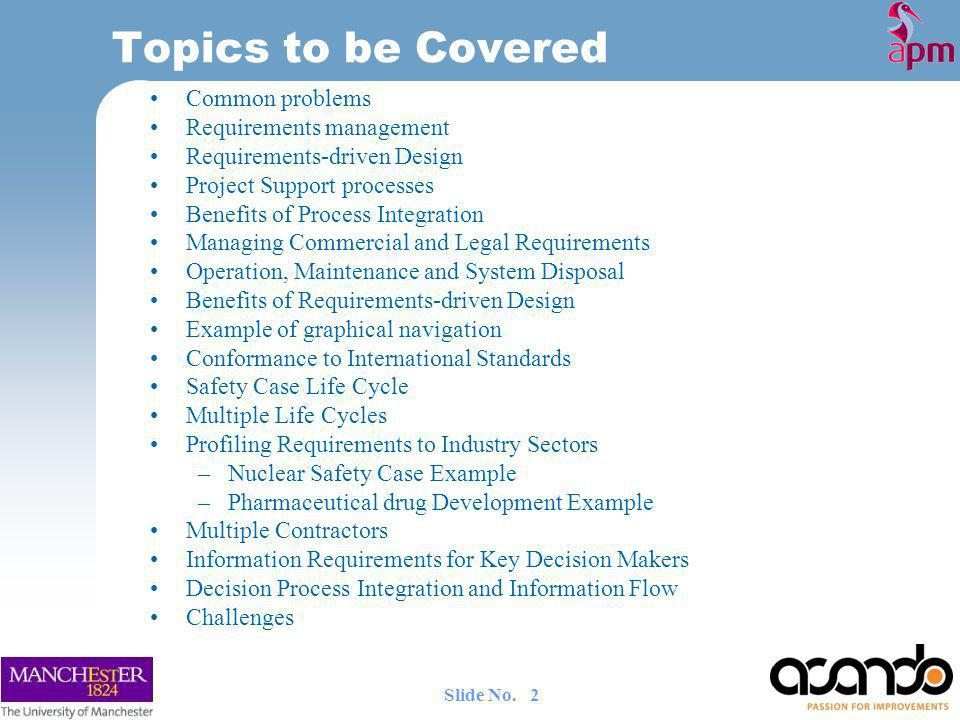 Topics to be Covered Common problems Requirements management