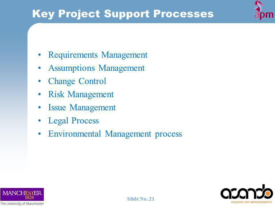 Key Project Support Processes