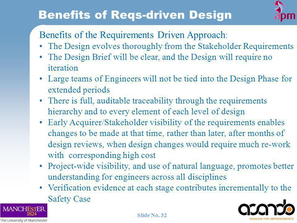 Benefits of Reqs-driven Design