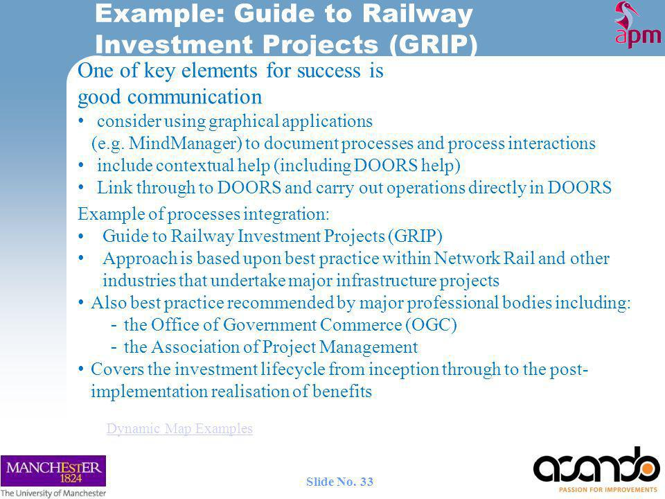 Example: Guide to Railway Investment Projects (GRIP)