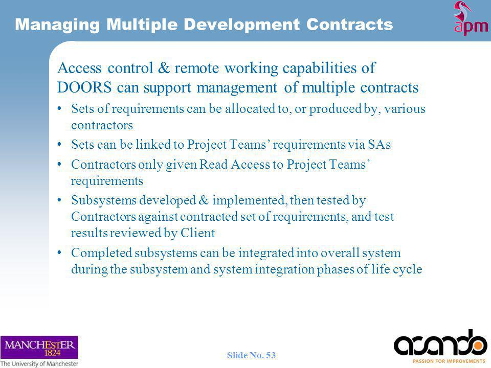 Managing Multiple Development Contracts