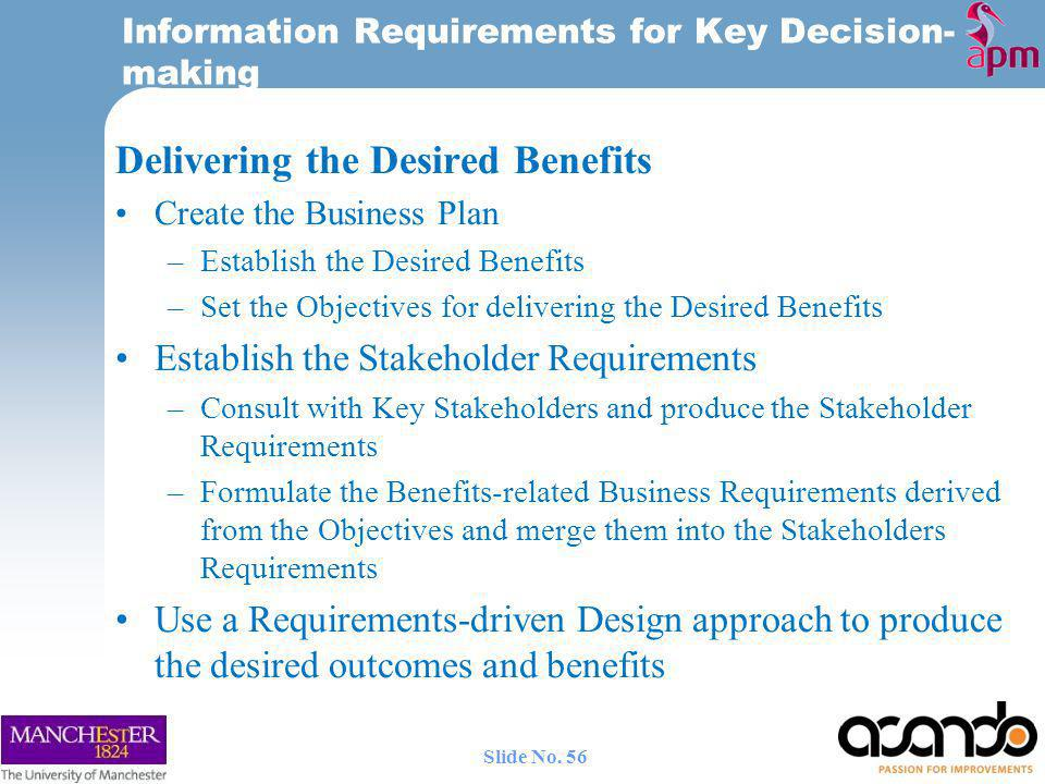 Information Requirements for Key Decision-making