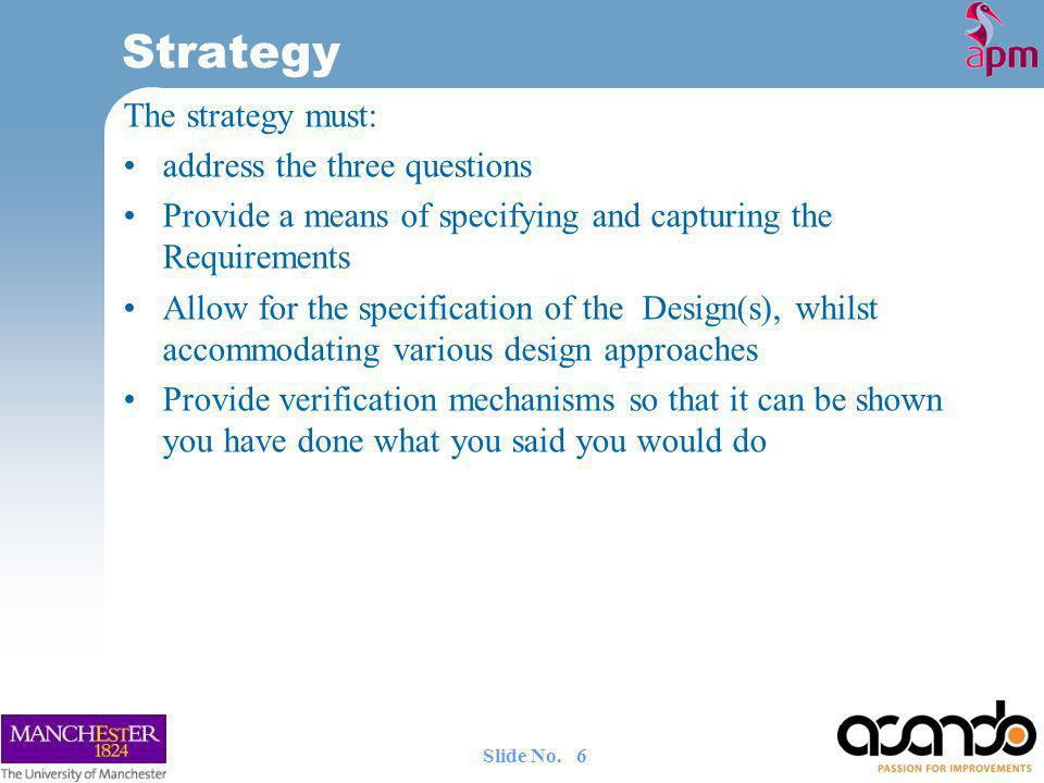 Strategy The strategy must: address the three questions
