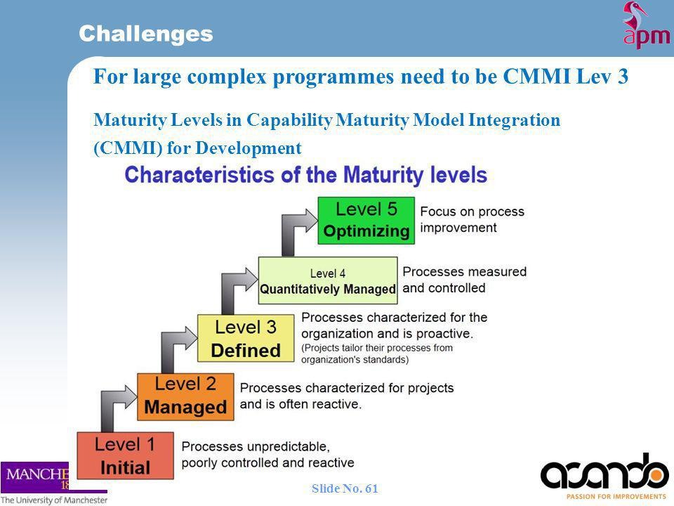 For large complex programmes need to be CMMI Lev 3