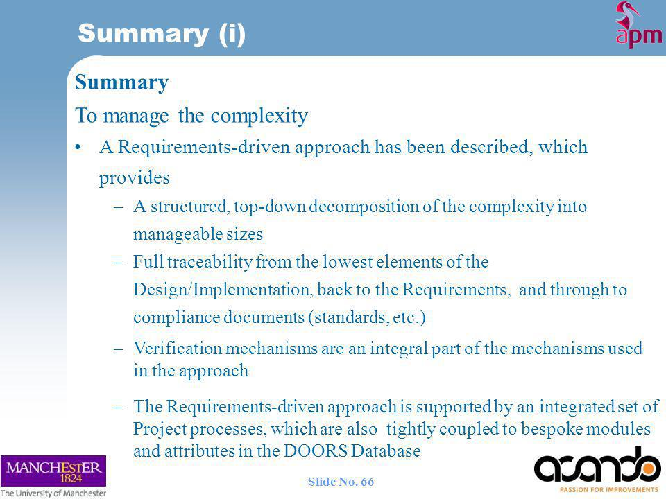 Summary (i) Summary To manage the complexity