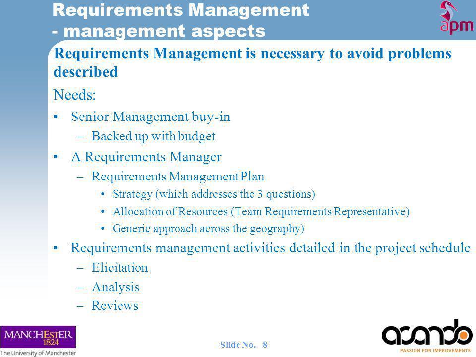 Requirements Management - management aspects