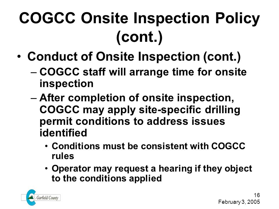 COGCC Onsite Inspection Policy (cont.)