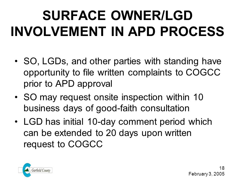 SURFACE OWNER/LGD INVOLVEMENT IN APD PROCESS