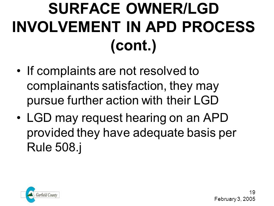 SURFACE OWNER/LGD INVOLVEMENT IN APD PROCESS (cont.)