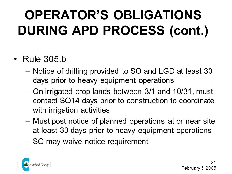 OPERATOR'S OBLIGATIONS DURING APD PROCESS (cont.)