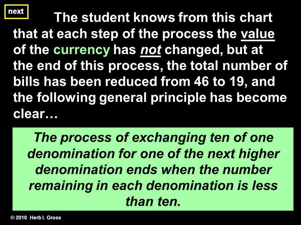 next next. The student knows from this chart that at each step of the process the value of the currency has not changed, but at.