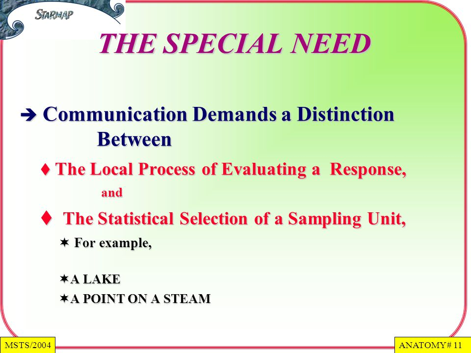 THE SPECIAL NEED The Statistical Selection of a Sampling Unit,