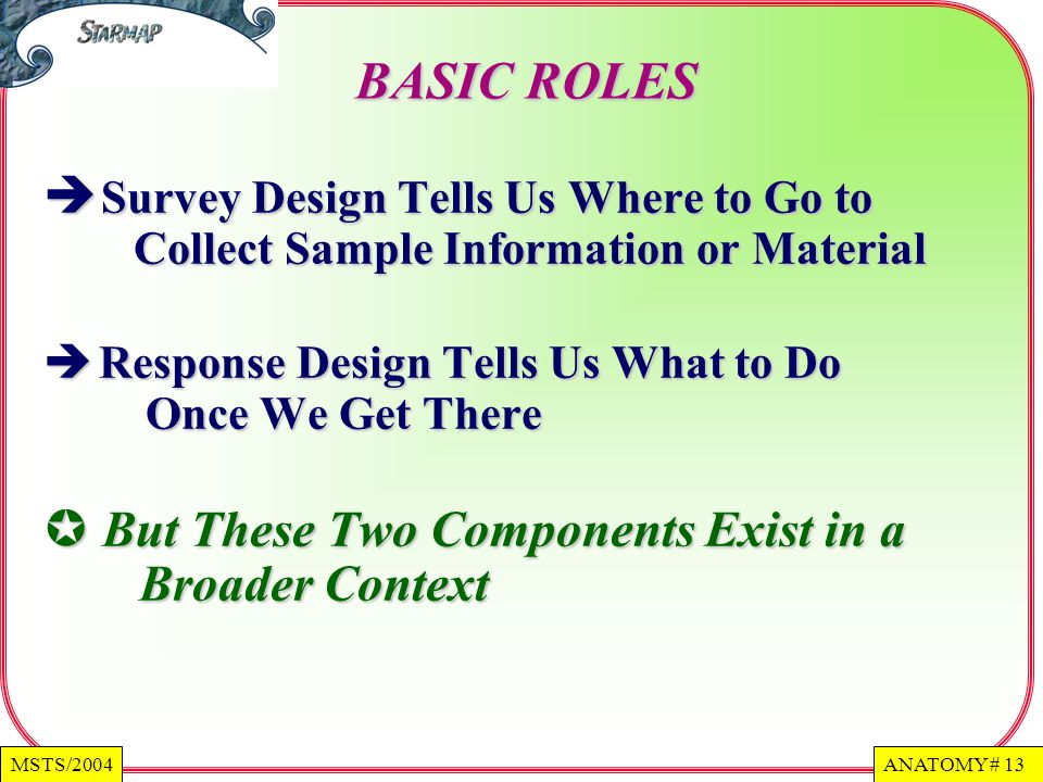 BASIC ROLES Survey Design Tells Us Where to Go to Collect Sample Information or Material.