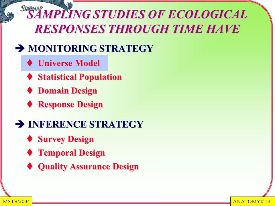 SAMPLING STUDIES OF ECOLOGICAL RESPONSES THROUGH TIME HAVE