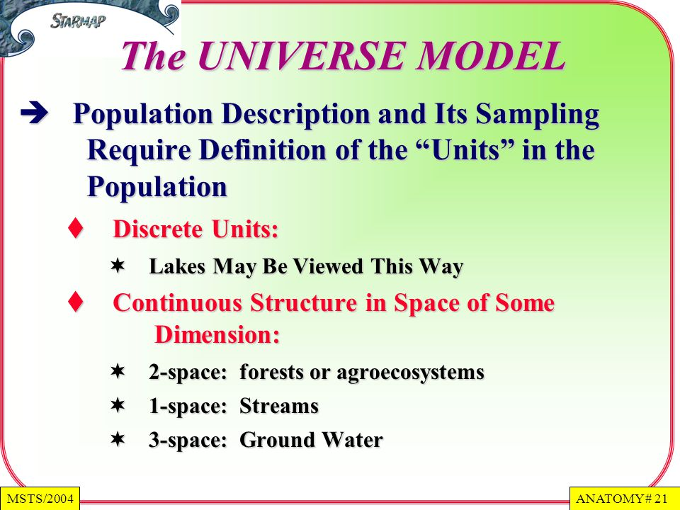 The UNIVERSE MODEL Population Description and Its Sampling Require Definition of the Units in the Population.