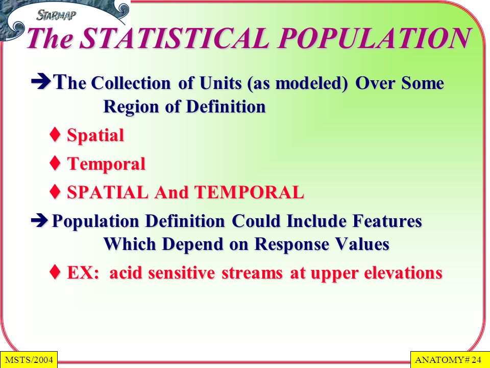 The STATISTICAL POPULATION