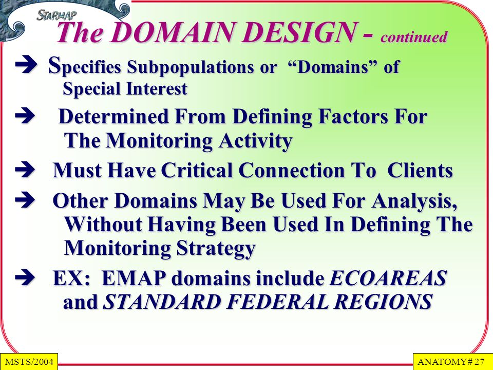 The DOMAIN DESIGN - continued