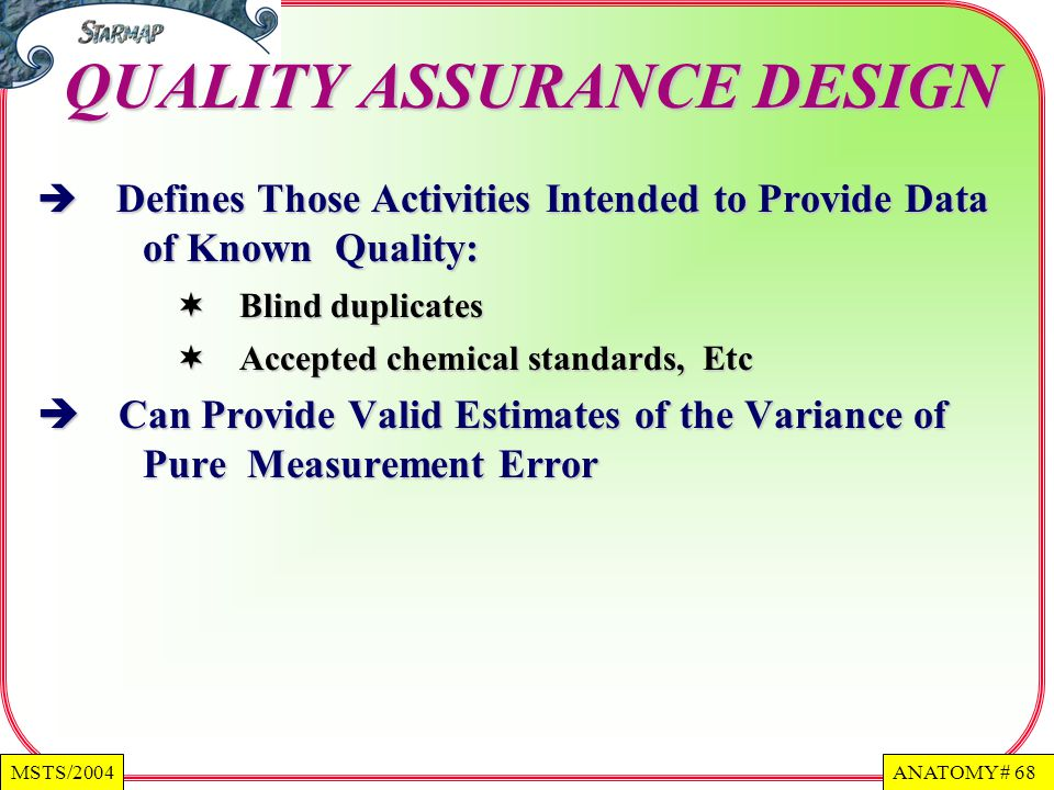 QUALITY ASSURANCE DESIGN