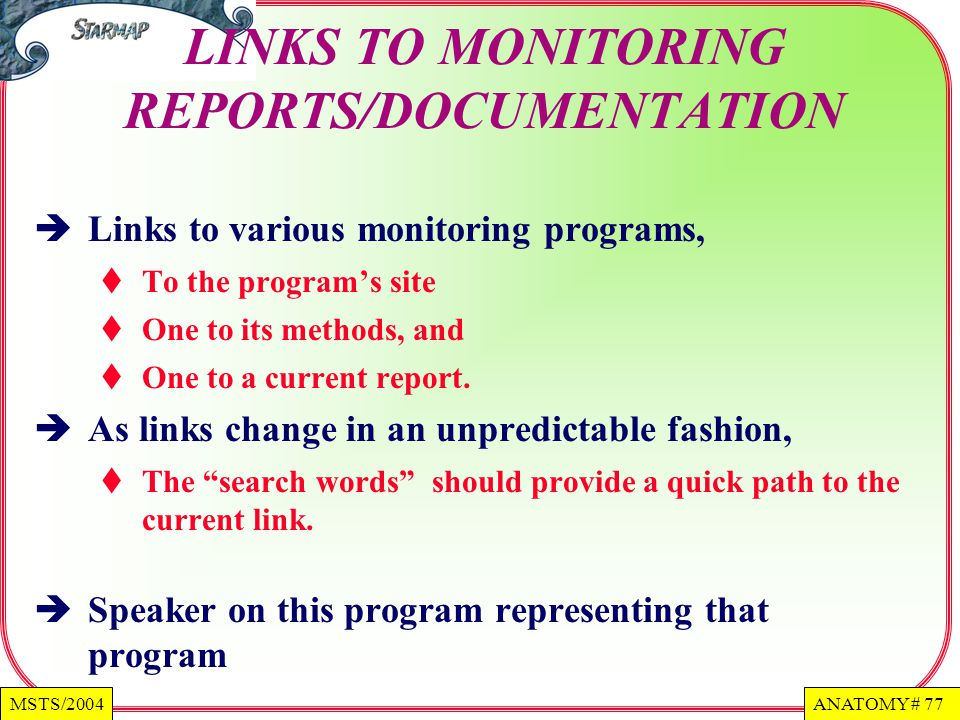 LINKS TO MONITORING REPORTS/DOCUMENTATION