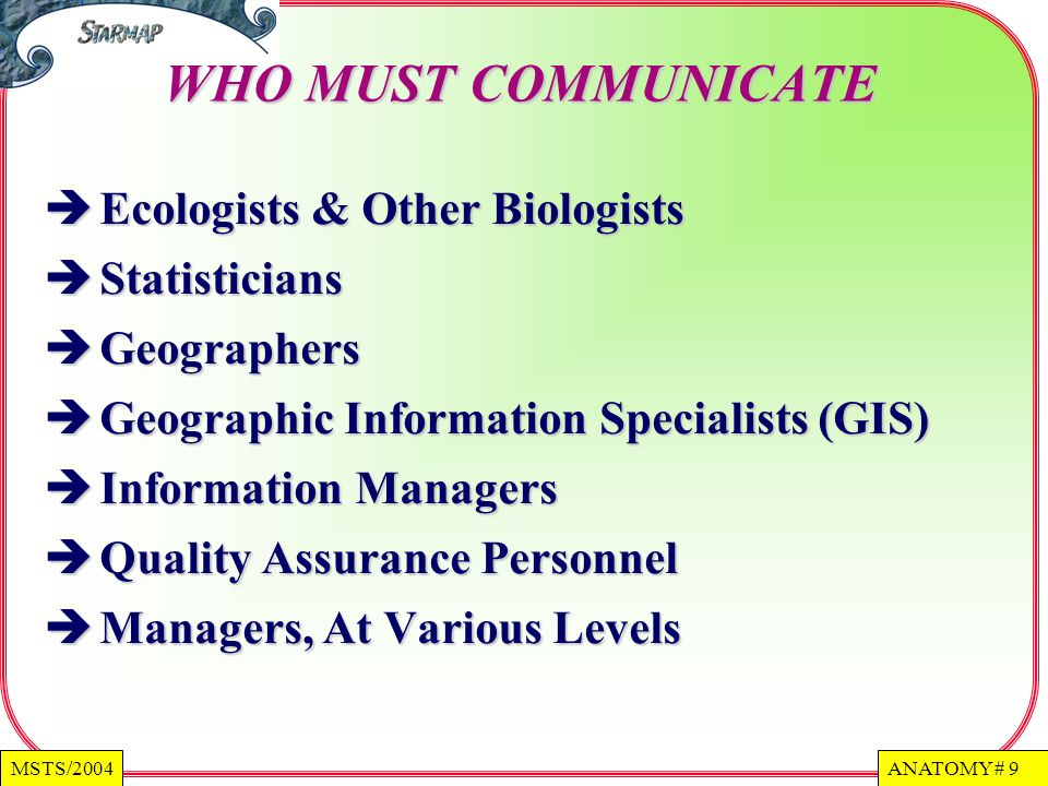 WHO MUST COMMUNICATE Ecologists & Other Biologists Statisticians
