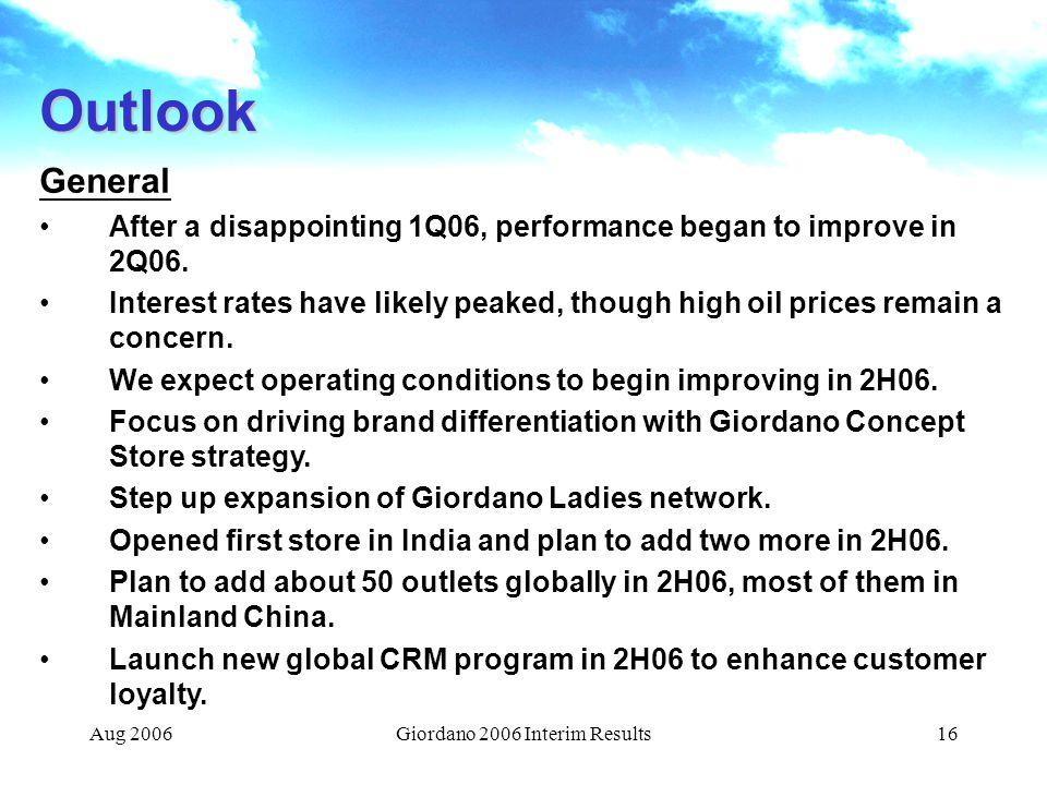 Giordano 2006 Interim Results