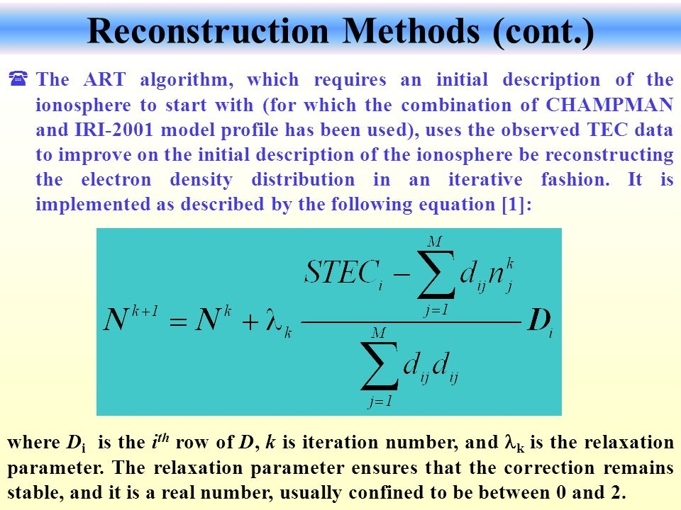 Reconstruction Methods (cont.)