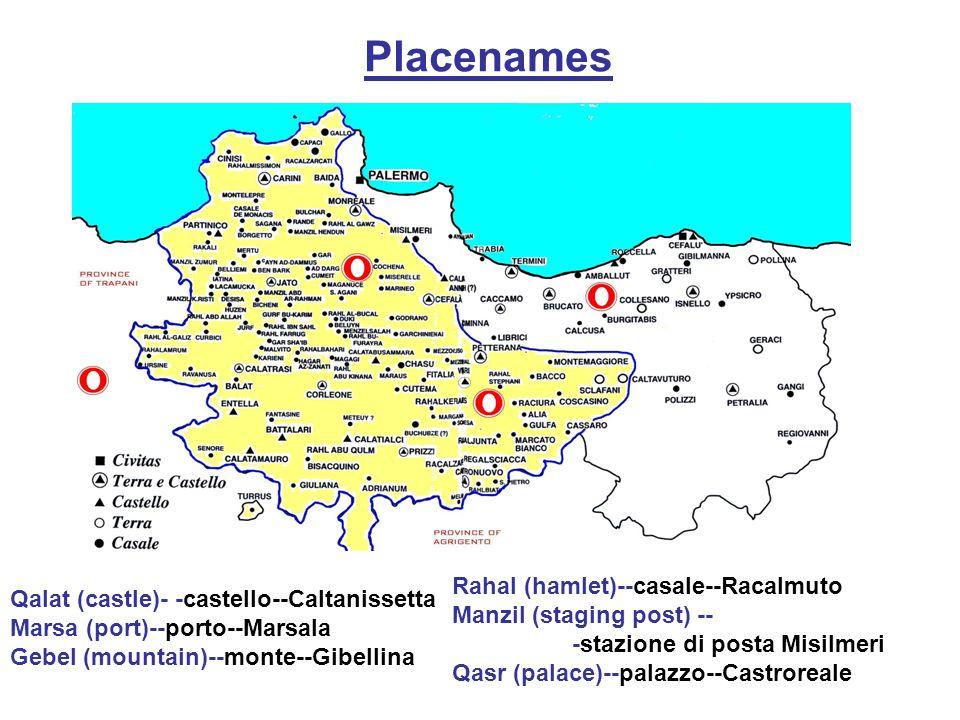 Placenames Rahal (hamlet)--casale--Racalmuto Manzil (staging post) --