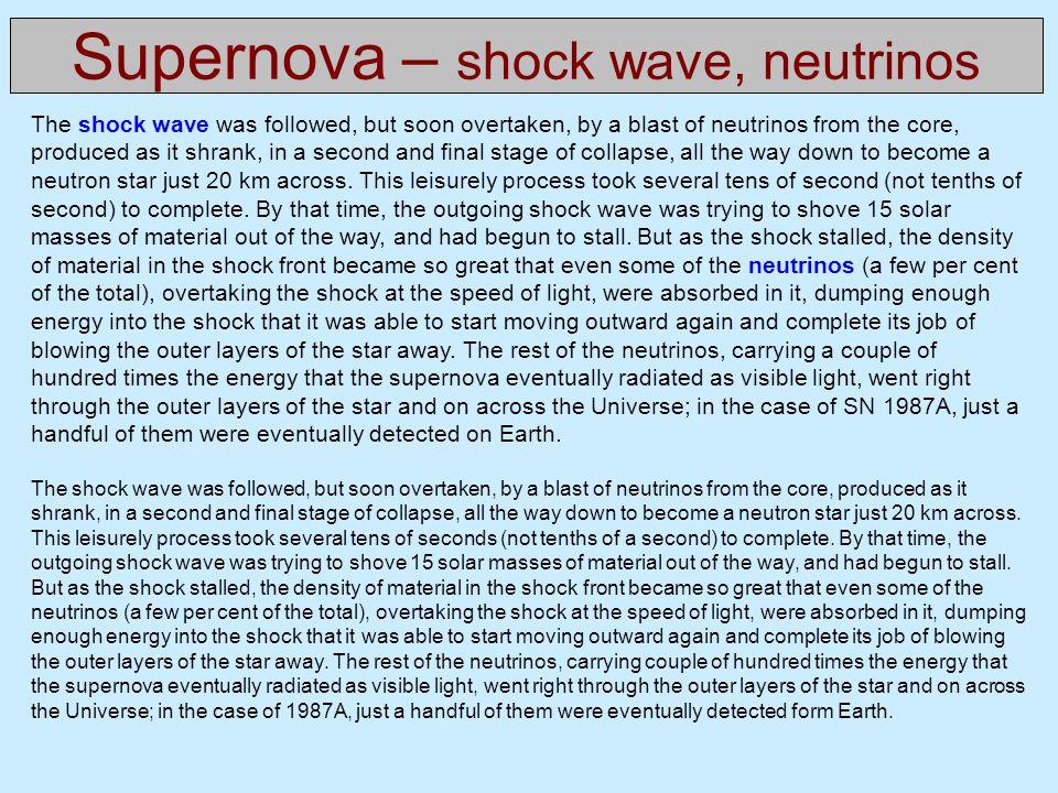 Supernova – shock wave, neutrinos