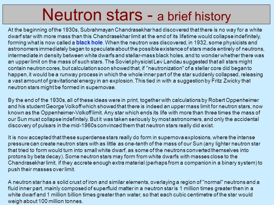 Neutron stars - a brief history