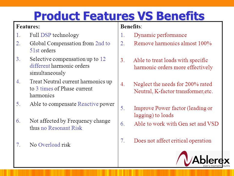 Product Features VS Benefits