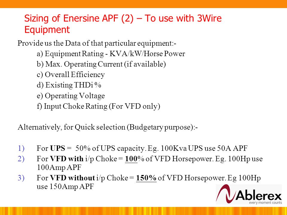 Sizing of Enersine APF (2) – To use with 3Wire Equipment