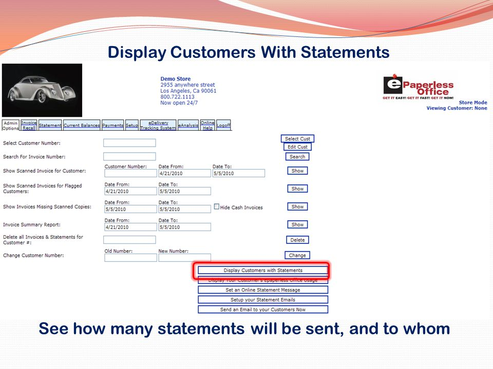 Display Customers With Statements