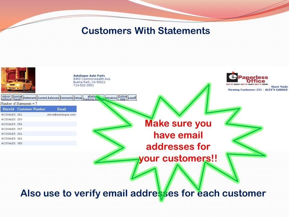 Customers With Statements