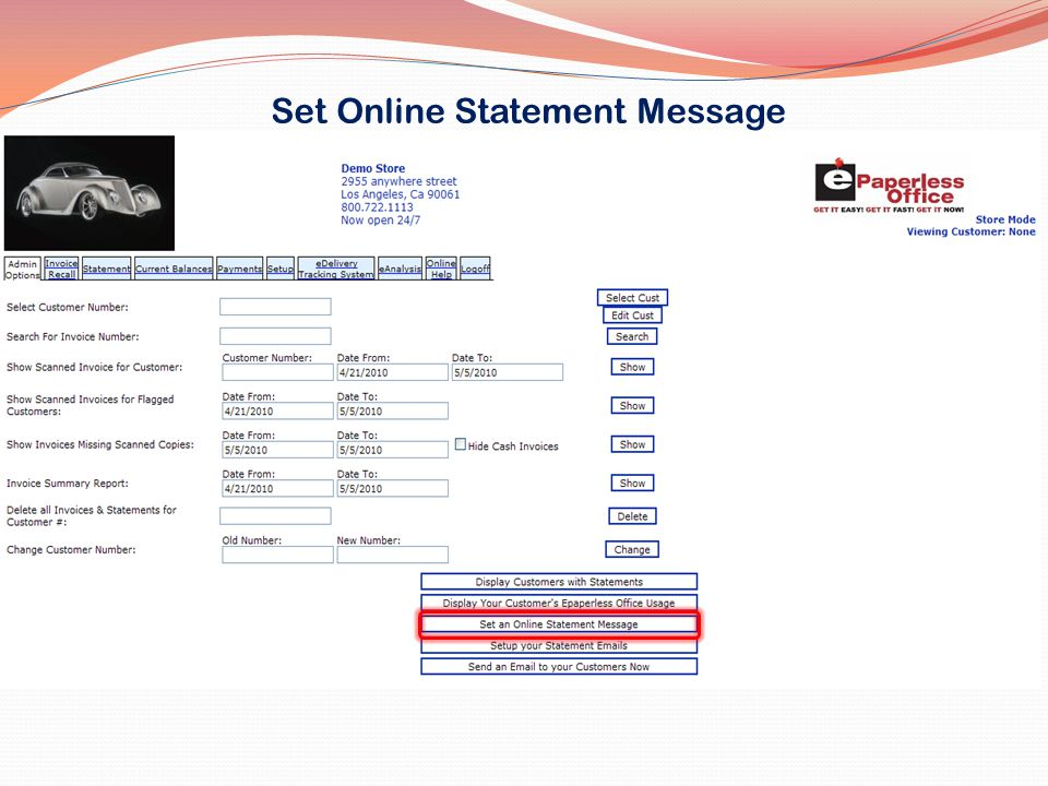 Set Online Statement Message